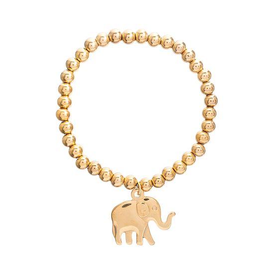 Imagen de Gold-Tone Stainless Steel Dangling Elephant Beaded Bracelet