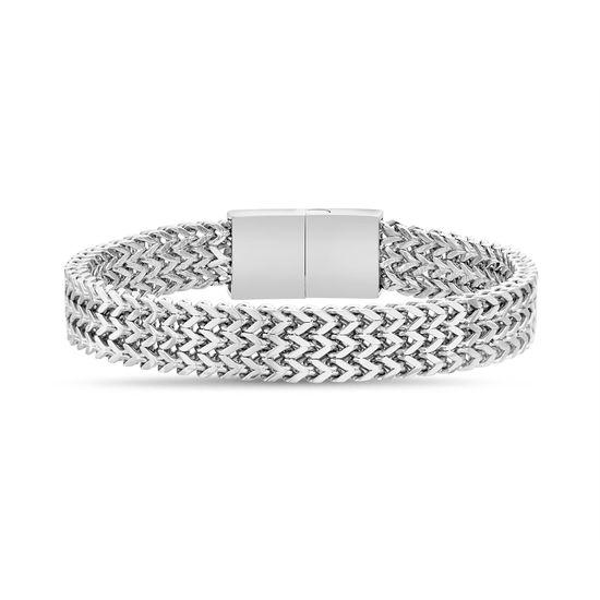 Imagen de Men's Silver-Tone Stainless Steel Franco Chain Bracelet