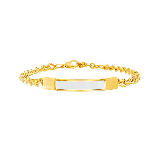 Imagen de Gold-Tone Stainless Steel Freshwater Pearl Bar Curb Chain Bracelet