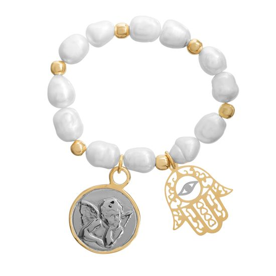 Imagen de Two-Tone Stainless Steel Beaded with Hamsa Hand and Angel Circle Disc Charm Elastic Bracelet