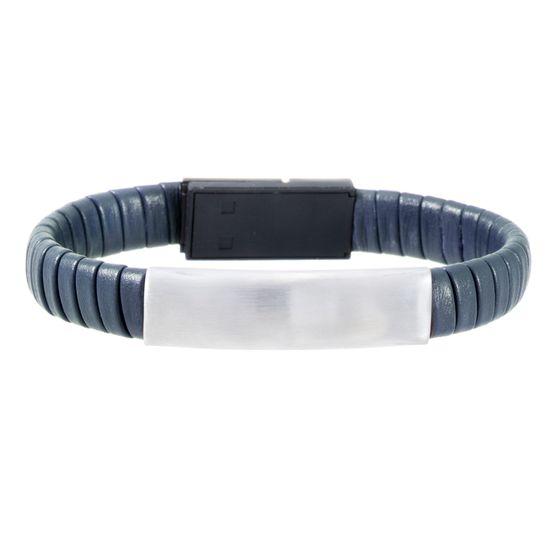 Imagen de Silver-Tone Stainless Steel Men's ID Bar 7 Navy Blue Wrap Around Leather Hidden IOS USB Charger Bracelet
