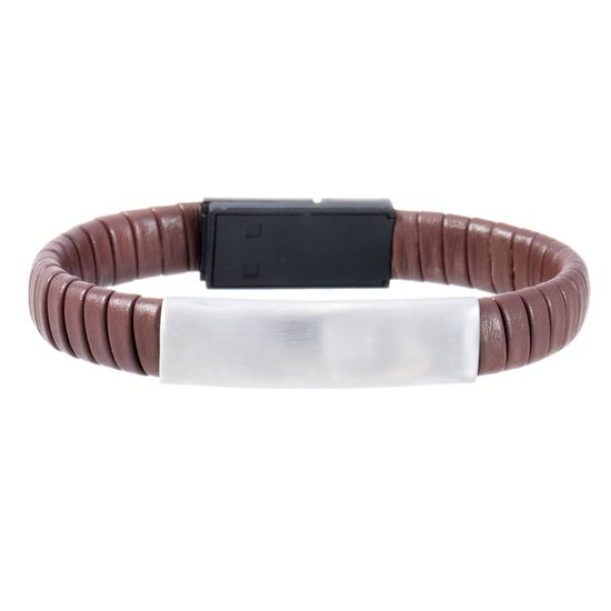 Imagen de Silver-Tone Stainless Steel Men's ID Bar 7 Brown Wrap Around Leather Hidden USB Charger Bracelet
