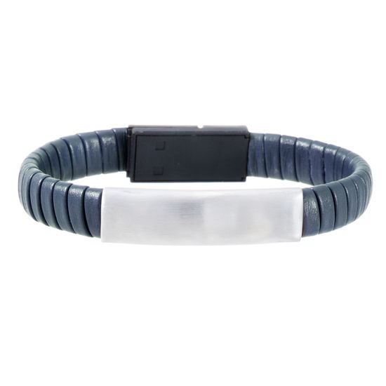 Imagen de Silver-Tone Stainless Steel Men's ID Bar 7 Navy Blue Wrap Around Leather Hidden USB Charger Bracelet