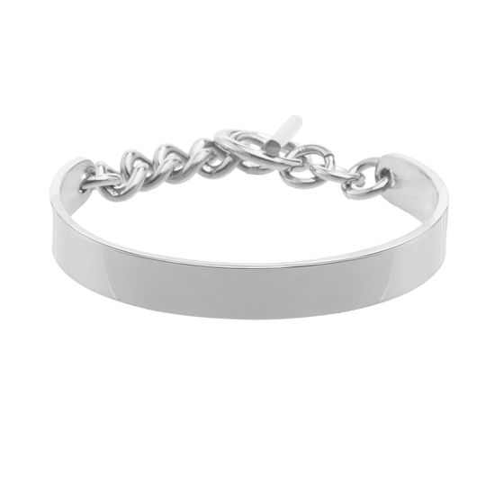 Imagen de Silver-Tone Stainless Steel Cuff with Chain Toggle Lock Bracelet