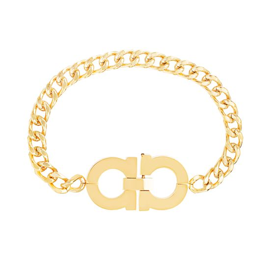 Imagen de Gold-Tone Stainless Steel Barred Circle Design 6.5 Curb Chain Bracelet