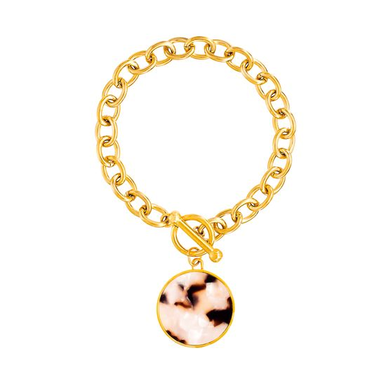 Imagen de Gold-Tone Stainless Steel Ivory Stone Round Charm 6.5 Rolo Chain Bracelet