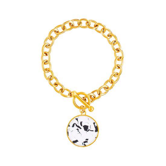 Imagen de Gold-Tone Stainless Steel Tortoise Shell Round Charm 6.5 Rolo Chain Bracelet