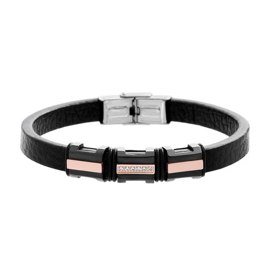 Imagen de Tri-Tone Stainless Steel Men's Cubic Zirconia Rose/Black/Silver IT-Station Black Leather Bracelet