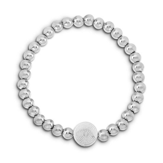 Imagen de Silver-Tone Stainless Steel Round Prayer Station Beaded Stretch Bracelet