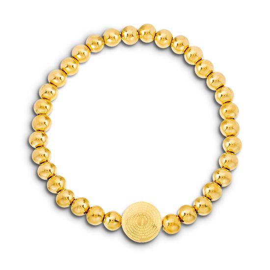 Imagen de Gold-Tone Stainless Steel Round Prayer Station Beaded Stretch Bracelet
