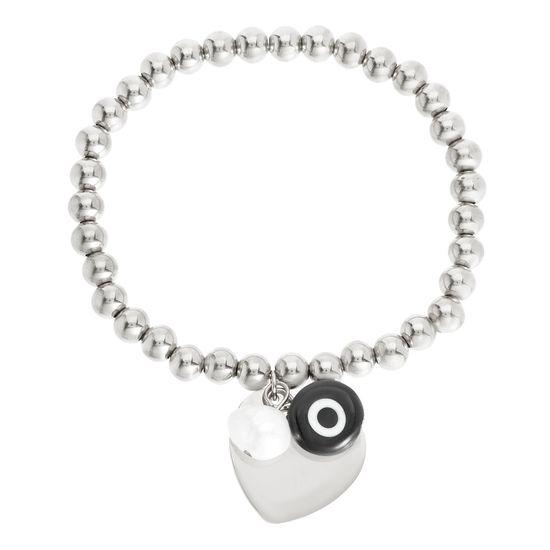 Imagen de Silver-Tone Stainless Steel Evil Eye/Pearl/Heart Charms Beaded Stretch Bracelet
