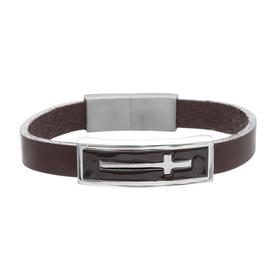 Imagen de Men's Cross Station Charm on Brown Leather Bracelet in Stainless Steel