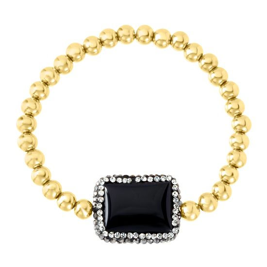 Imagen de Gold-Tone Stainless Steel Rectangular Black Stone Station Beaded Stretch Bracelet