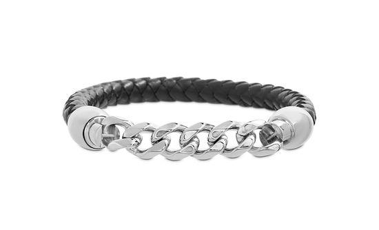 Imagen de Silver-Tone Stainless Steel Men's Cuban Chain Black Leather Bracelet