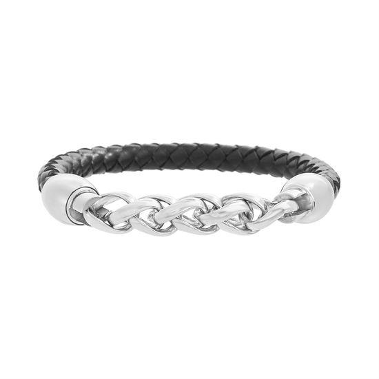 Imagen de Silver-Tone Stainless Steel Men's Wavy Link Black Leather Bracelet