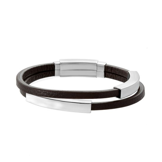 Imagen de Silver-Tone Stainless Steel Men's Brown Leather Double Strand Sliding Curved Bar In and Out Adjustable Bracelet