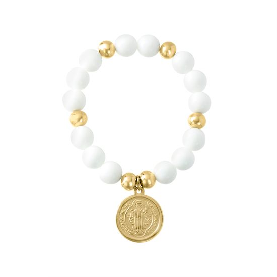 Picture of Gold-Tone Stainless Steel San Benito Charm White Beaded Stretch Bracelet