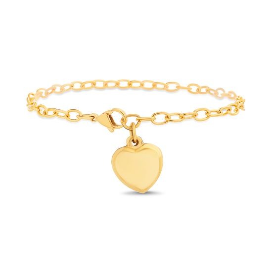 Imagen de Gold-Tone Stainless Steel Dangling Puffed Heart Charm Cable Chain Bracelet