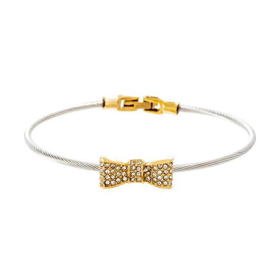 Imagen de Two-Tone Stainless Steel Crystal Bow Twisted Design Wire Bracelet