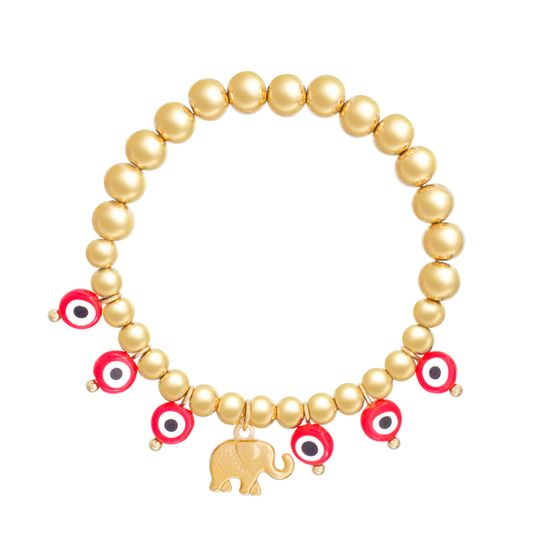 Imagen de Gold-Tone Stainless Steel Red/Clear Evil Eye and Elephant Charm Beaded Stretch Bracelet
