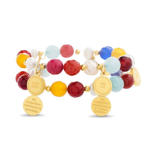 Imagen de Gold-Tone Stainless Steel 2pc Double Sided Roman Numeral/Spanish Verse Charms Multi-Colored Bead Stretch Bracelet Set
