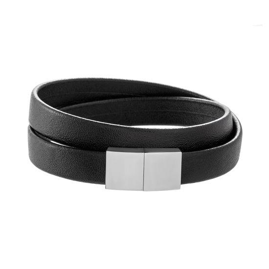 Imagen de Silver-Tone Stainless Steel Men's Magnetic Wrap Around Leather Bracelet