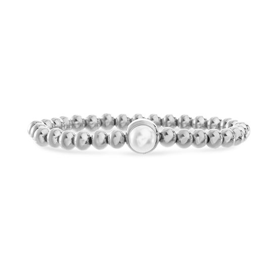 Imagen de Silver Plated Stainless Steel Freshwater Pearl Circle Charm Beaded Stretch Bracelet
