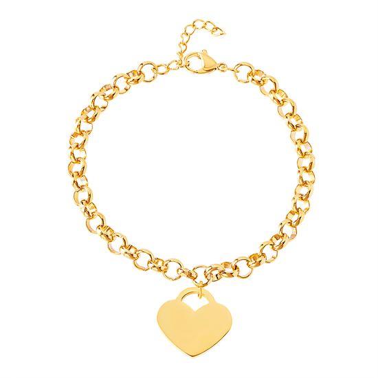 Imagen de Gold-Tone Stainless Steel Heart Lock Charm Rolo Chain Bracelet