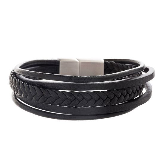 Imagen de Silver-Tone Stainless Steel Men's Multi Layered Black Leather Bracelet