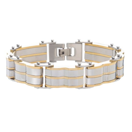 Imagen de Two-Tone Stainless Steel Men's Link Bracelet