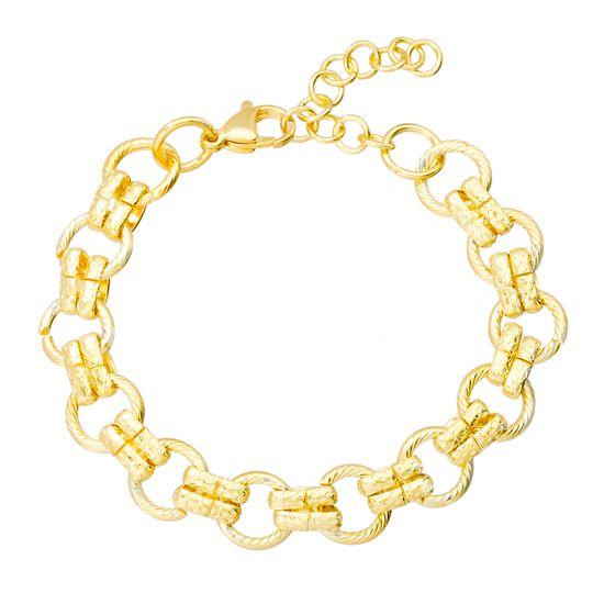Imagen de Gold-Tone Stainless Steel Interlocking Ring Bracelet