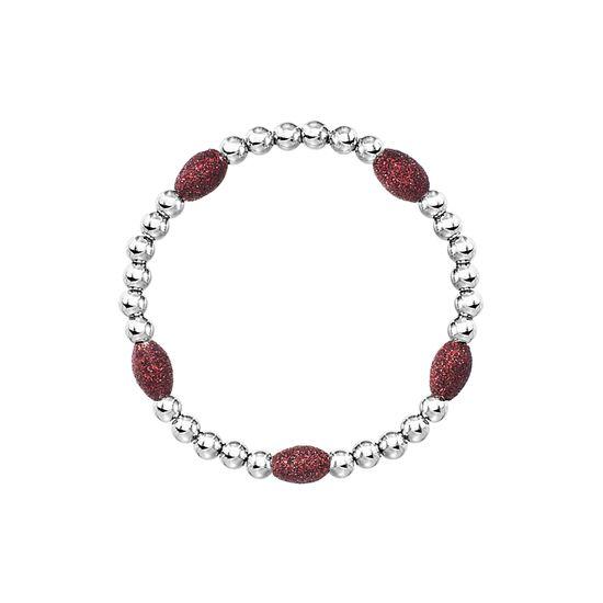 Imagen de Silver-Tone Stainless Steel Red Oval Stone Beaded Bracelet
