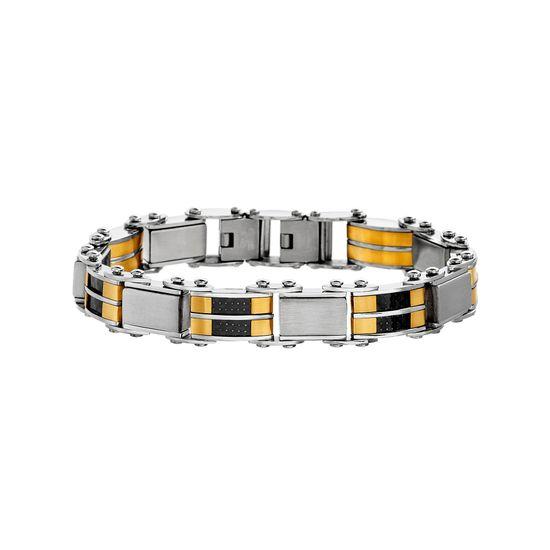 Imagen de Two-Tone Stainless Steel Carbon Fiber Square Link Mens Bracelet