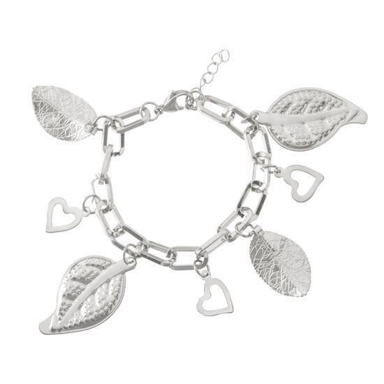 Imagen de Silver-Tone Stainless Steel Dangling Leaf & Heart Charms Oval Link Bracelet