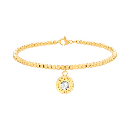 Picture of Gold Plated Stainless Steel Crystal Dangling BELOVED Disc Bead Bracelet
