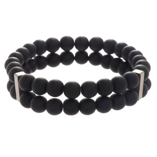 Imagen de Men's Stainless Steel Black Onyx Duo Beaded Stretch Bracelet