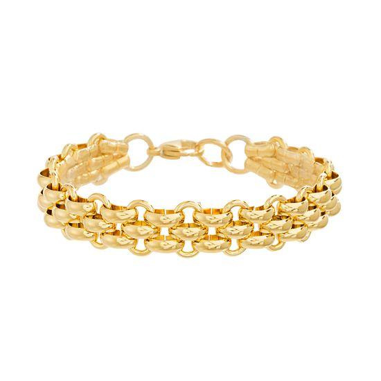 Imagen de Gold-Tone Stainless Steel Interlocking Rolo Chain Bracelet
