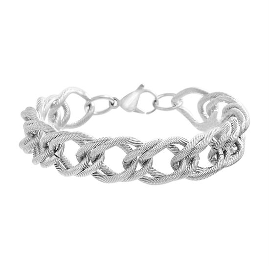 Imagen de Silver-Tone Stainless Steel Textured Double Link Bracelet