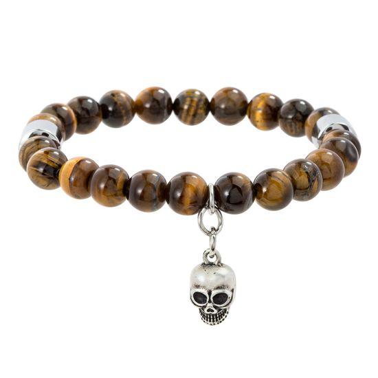Imagen de Silver-Tone Stainless Steel Tiger Eyes Beaded & Skull Design Bracelet