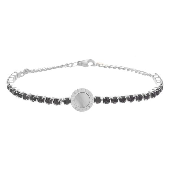 Picture of Genuine Mother of Pearl and Black Faceted Crystal Circle Bracelet in Stainless Steel
