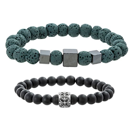 Imagen de Hematite & Oxidized Plated Men's Stainless Steel Green Lava Stone Black Stone Cubes & Celtic Cross Design Duo Beaded Bracelet