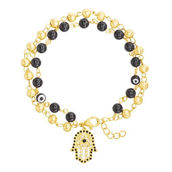 Imagen de Gold Plated  Stainless Steel Double Stranded Black Evil Eye Bead & Cable Chain Dangling Hamsa Hand Bracelet