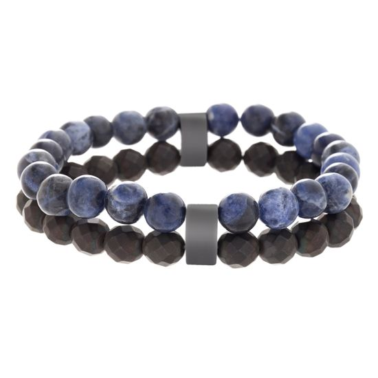 Picture of Men's Lab Created Lapis and Black Faceted Stone Double Strand Bead Bracelet in Black IP Stainless Steel