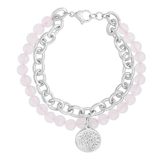 Imagen de Tree of Life Charm on Rose Quartz Bead & Cable Chain Double Strand Bracelet in Stainless Steel