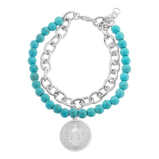 Imagen de Lab Created Turquoise Stone Bead/Cable Chain San Benito Bracelet in Stainless Steel