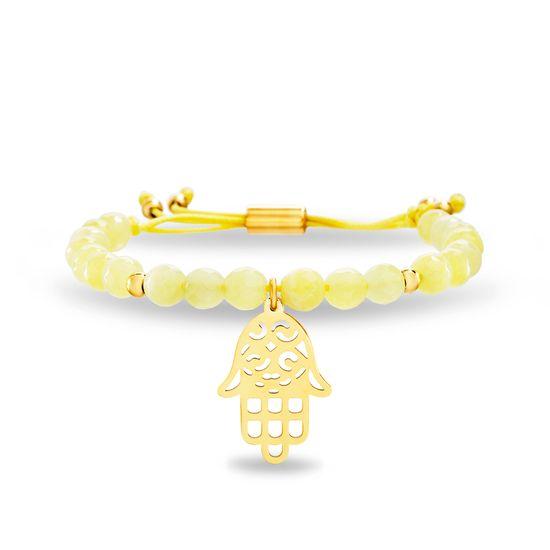 Imagen de Lab Created Orange Jade and Hamsa Adjustable Bead Bracelet in Gold IP Stainless Steel