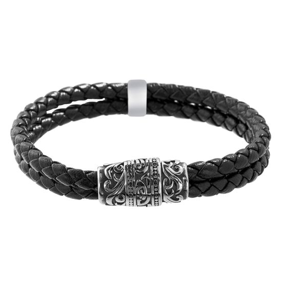 Imagen de Men's Double Stranded Floral Design Rondelle Black Leather Bracelet in Stainless Steel
