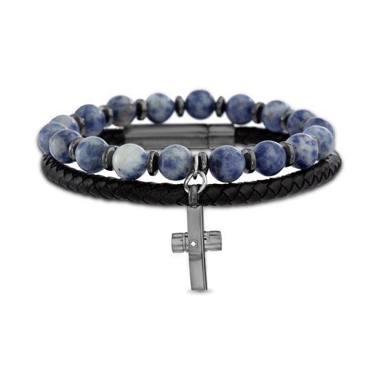 Imagen de Hematite Plated Men's Stainless Steel Dangling Cross Charm Sodalite Beads Stretch Bracelet