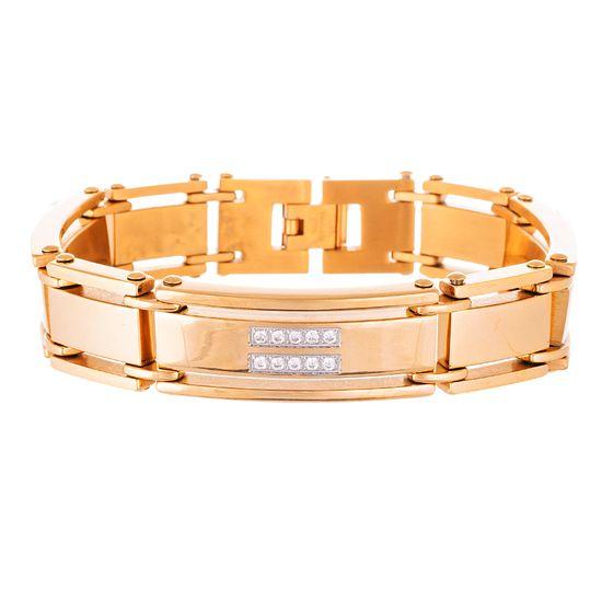 Imagen de Two- Tone Stainless Steel Crystal Link Bracelet