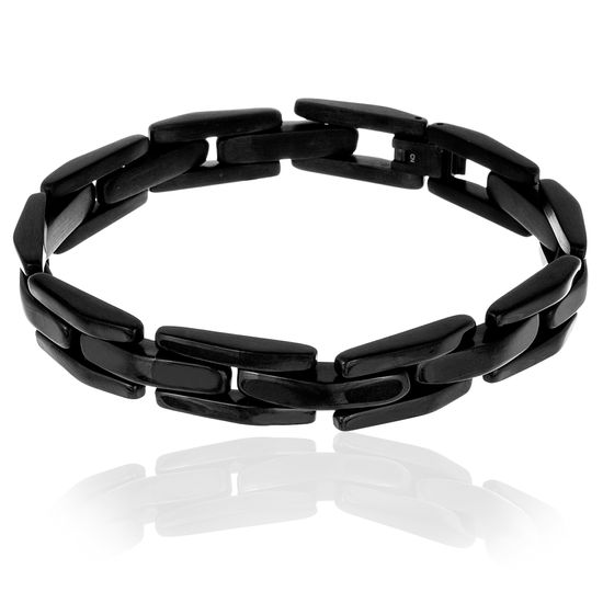 Imagen de Black-Tone Stainless Steel Men's Link Bracelet